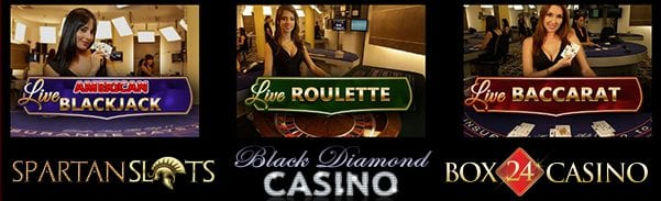 USA Live Dealer Casinos Are Available At Black Diamond, Box 24 and Spartan Slots Casino