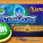 Enjoy Free Spins For Alkemor's Tower, The Angler, Legend of the Nile and Tiger's Claw Slots