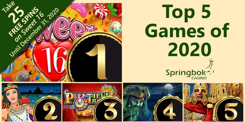 South Africa's Springbok Casino Names Five Most-Played Games of 2020 & Latest Bonus Codes